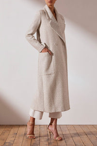 Shona Joy Edie Double Breasted Coat in Ivory/Multi