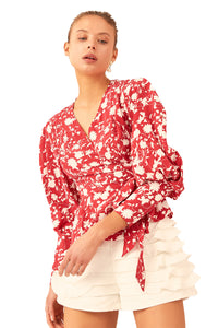 C/MEO Opacity Top in Chilli Floral