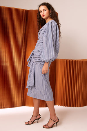 C/MEO Close Enough Skirt in Indigo Stripe