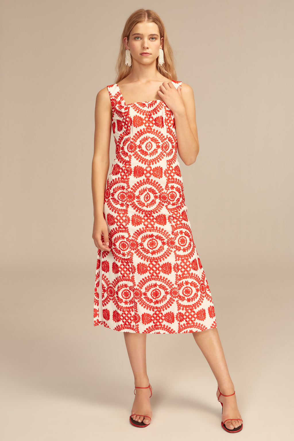 C/MEO Impressed Midi Dress in Ivory Red