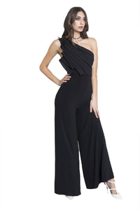 Chriselle Backstage Pleated Jumpsuit in Black