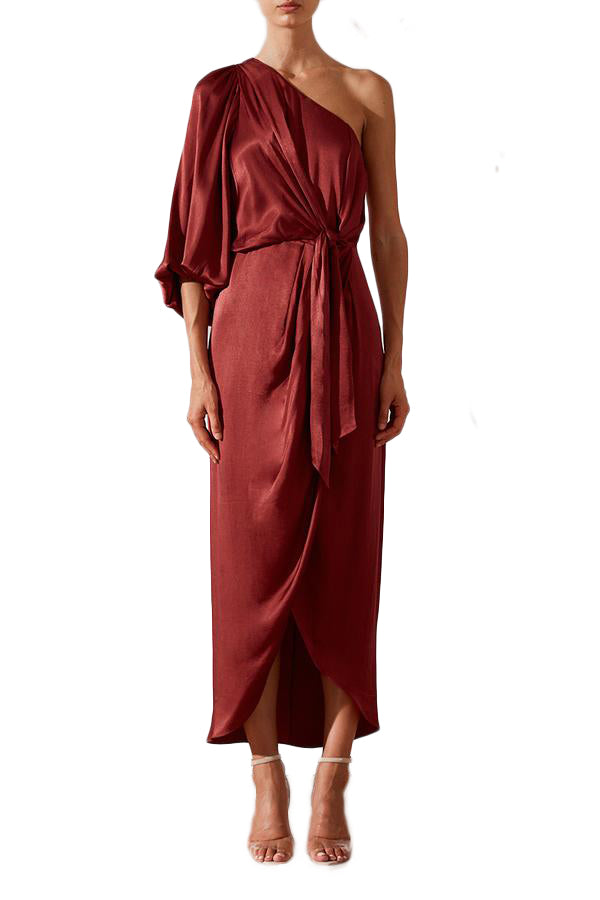 Shona Joy Joan One Shoulder Draped Midi Dress in Ruby Red