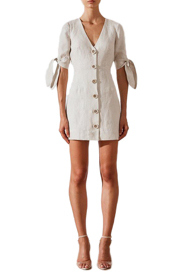Shona Joy Shaw Linen Fitted Mini Dress in Cream