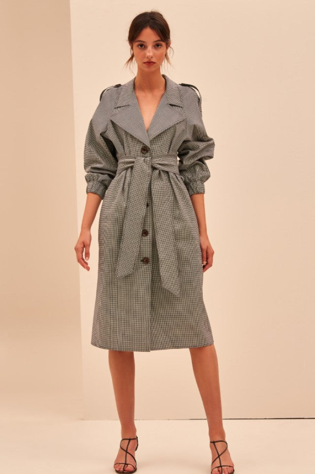 C/MEO Motivations Trench in Black Gingham