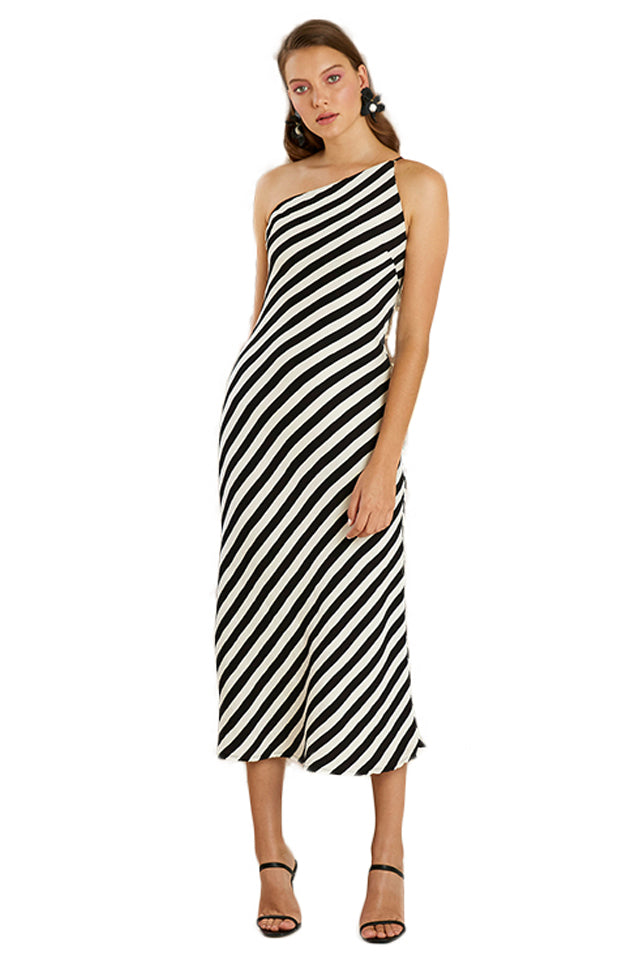 By Johnny Piano Bias Midi Dress in Black/White