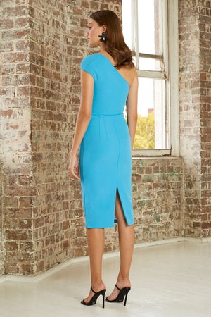 By Johnny Tied Shoulder Midi Dress in Aqua Blue