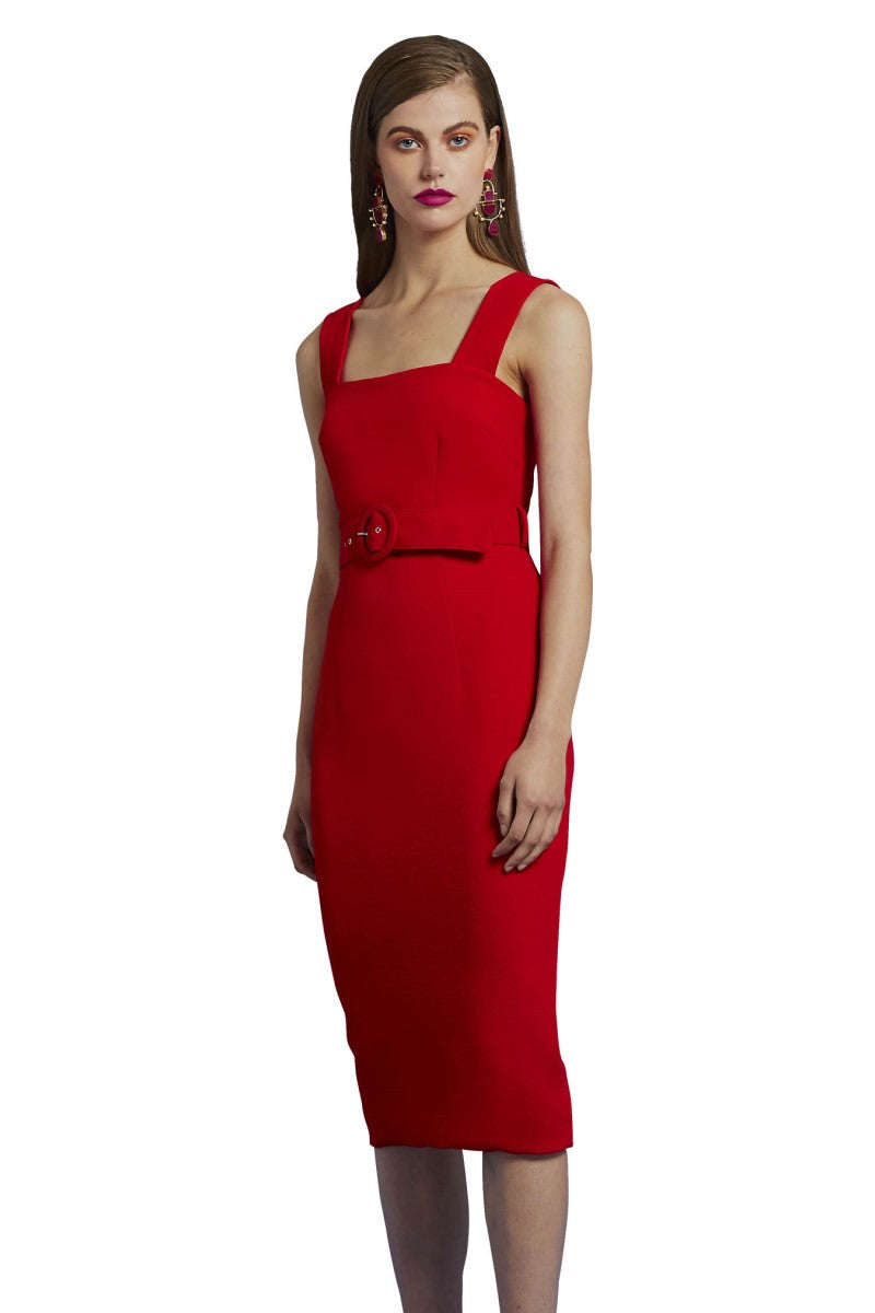 By Johnny Rose Belted Shift Midi Dress in Rose Red