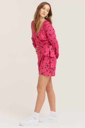 Vestire Never Been Kissed Wrap Mini Dress in Heart Print
