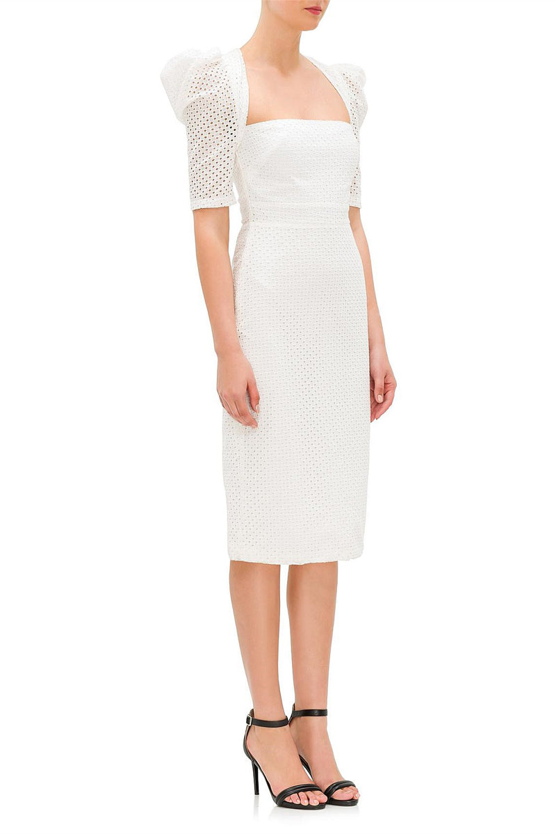 By Johnny Anglaise Open Back Midi Dress in White