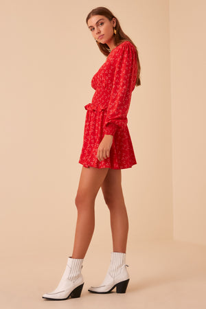 Finders Frida Long Sleeve Dress in Red Ditsy