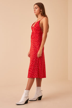 Finders Frida Dress in Red Ditsy