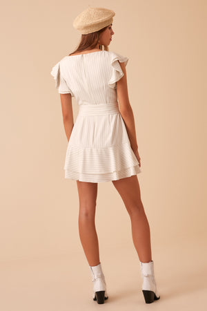 Finders Flamenco Mini Dress in Ivory Stripe