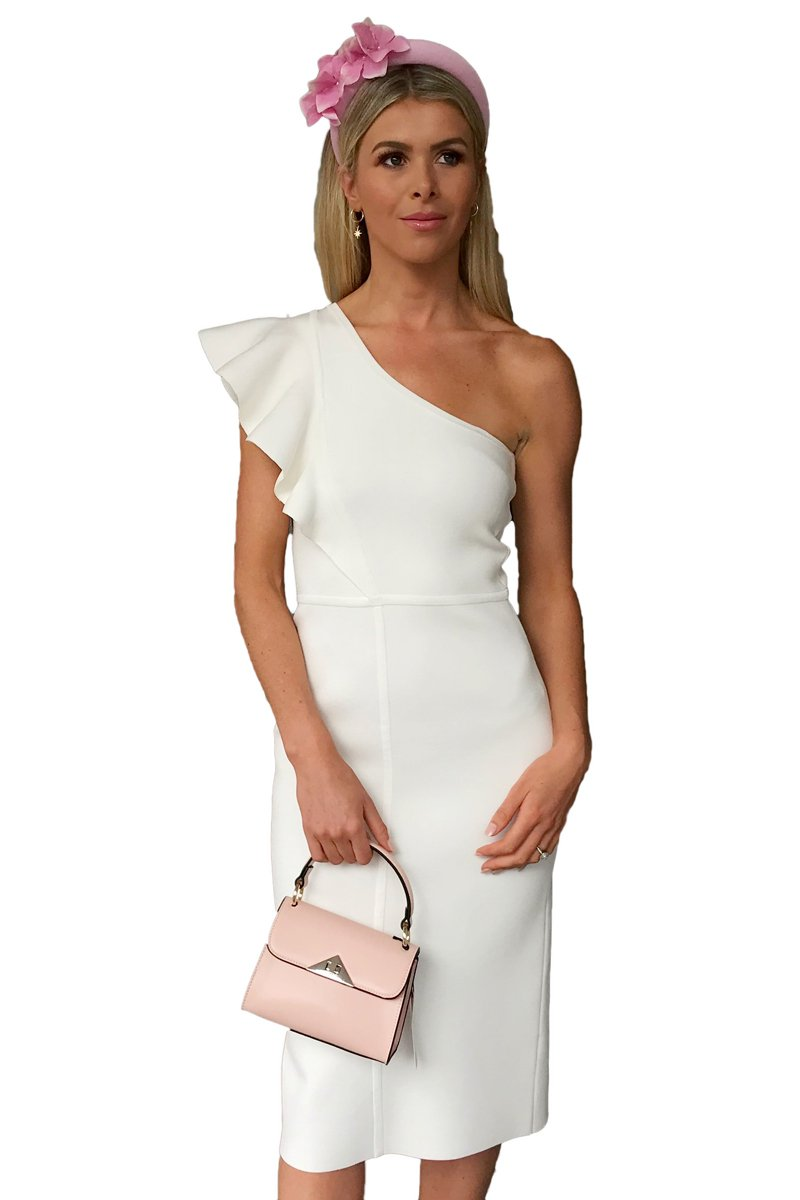 Ginger & Smart Anchor One Shoulder Dress in White