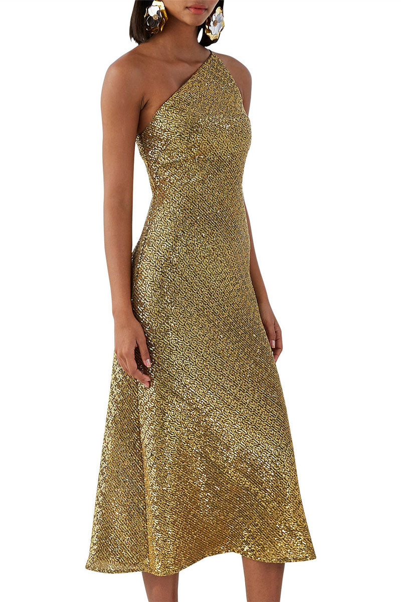 By Johnny Gold Girl Asymmetric Bias Dress in Gold