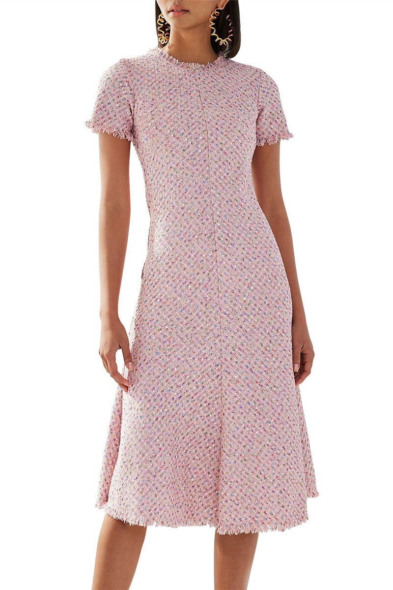 By Johnny Zoe Tweed Bias Midi Dress