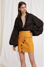 Acler Etchells Denim Skirt in Dark Gold