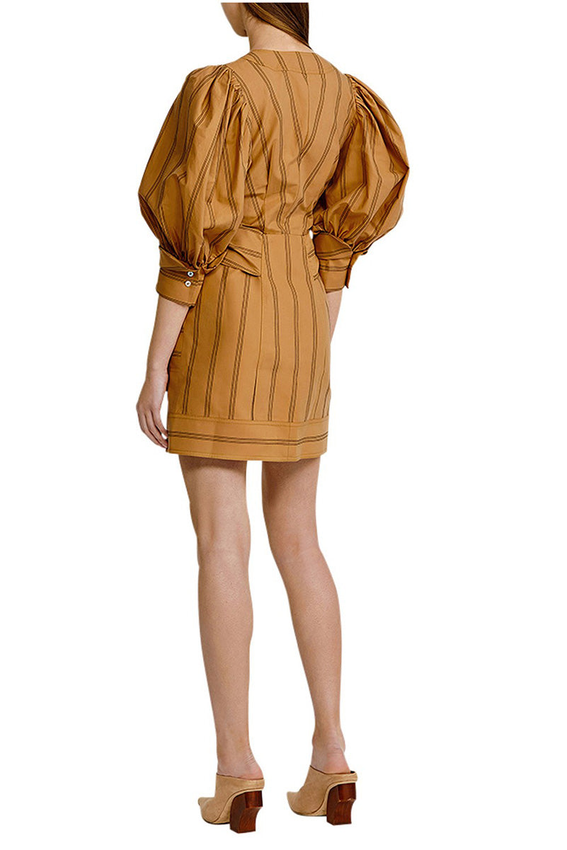 Acler Wyatt Dress in Burnt Caramel Stripe