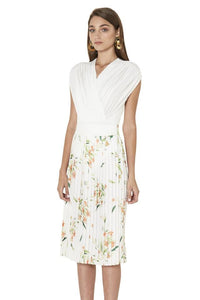 By Johnny Floral Pleated Midi Skirt in White Jungle