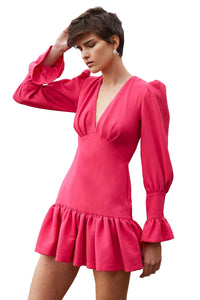 By Johnny Anna V Tulip Sleeve Mini Dress