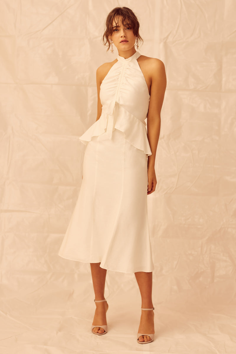 Keepsake Luminous Midi Dress in Ivory