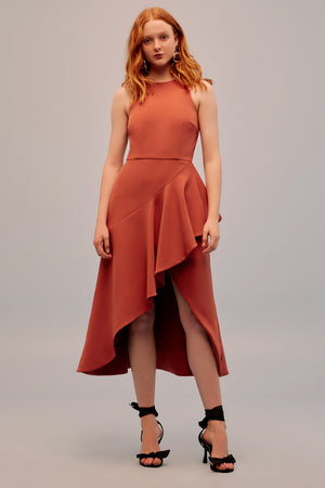 Keepsake Intrigue Midi Dress in Burnt Orange