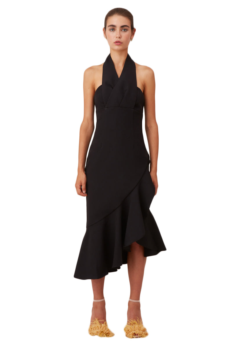 Keepsake Delight Midi Dress in Black