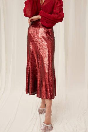 Keepsake Farewell Skirt in Ruby