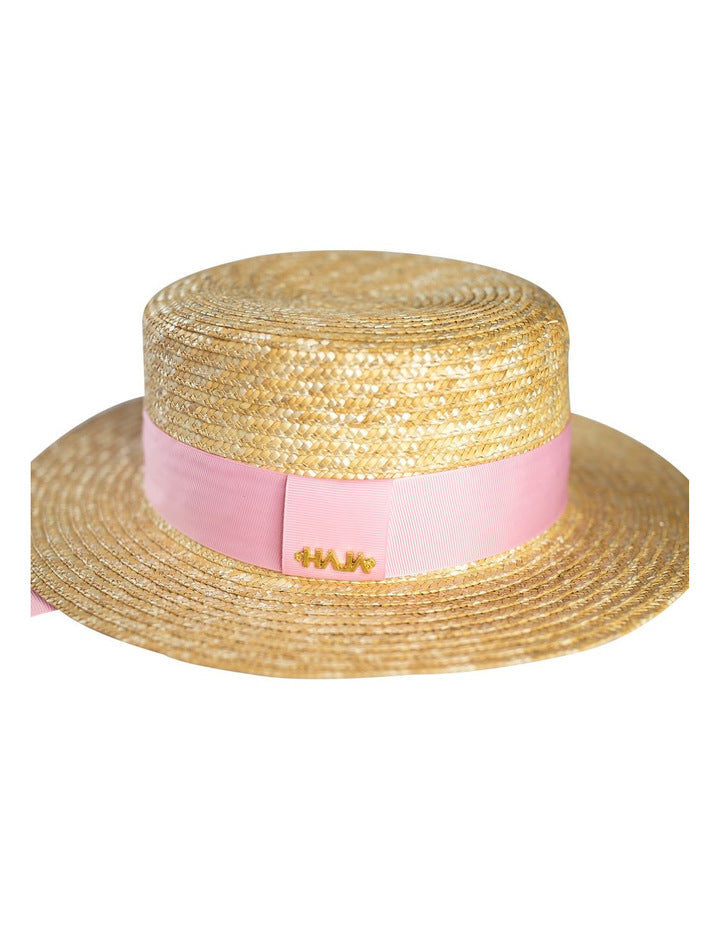 Haja Boater Hat With Pink Ribbon
