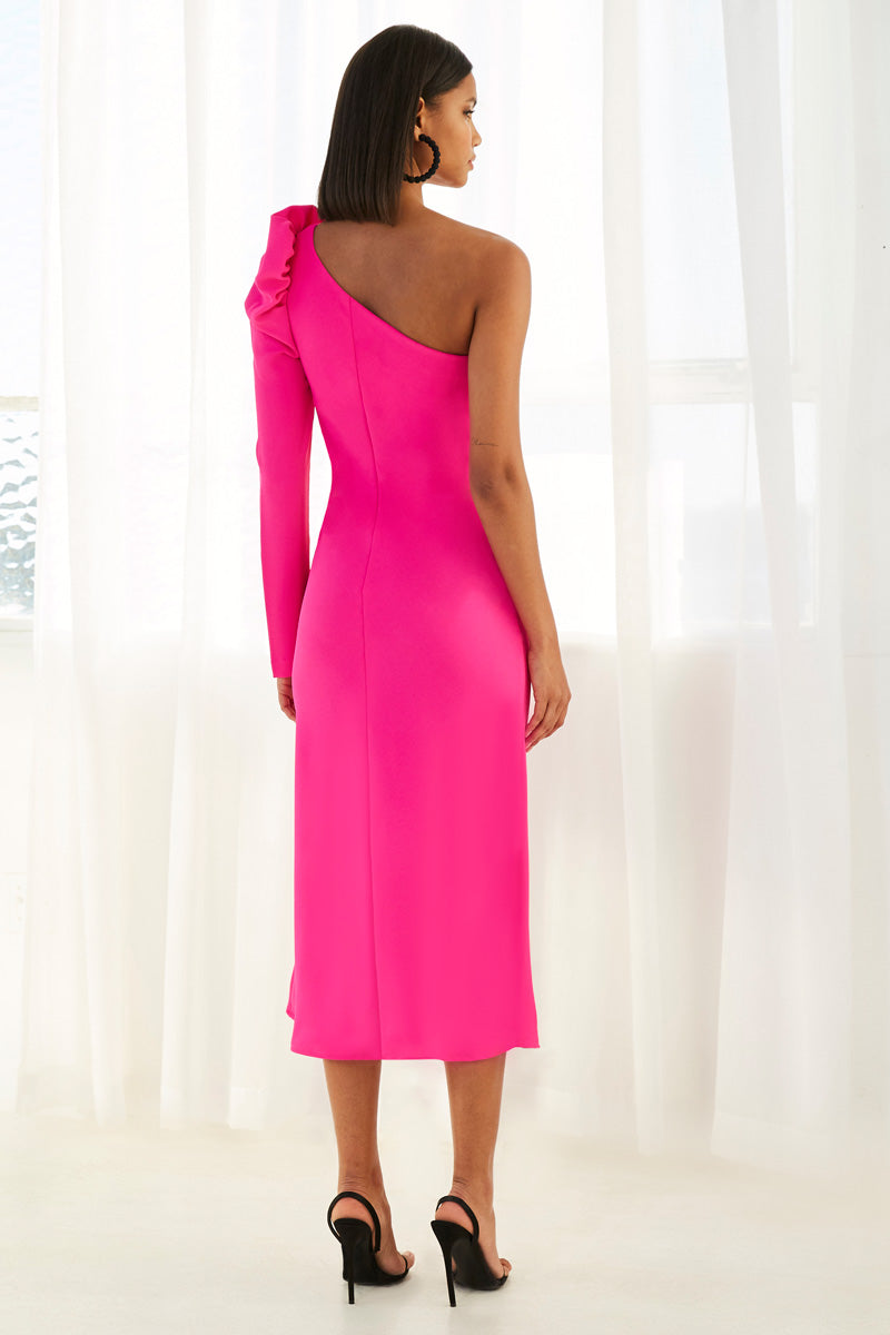 By Johnny Abby Asymmetric Sleeve Bias Dress in Neon Pink