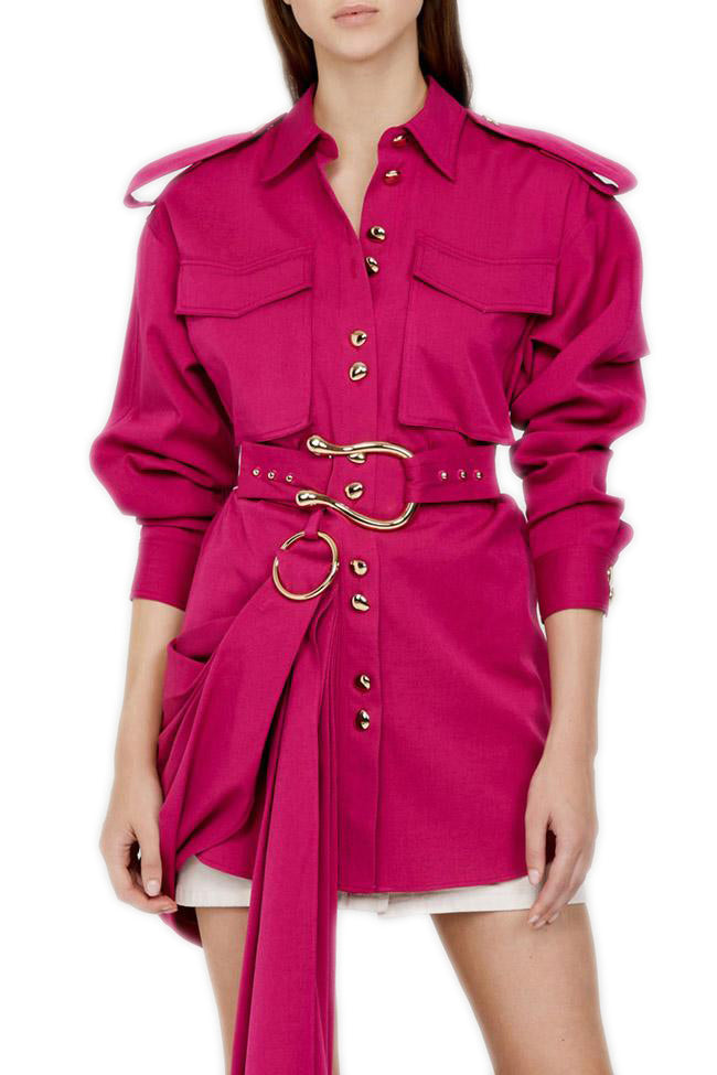 Acler Parkway Shirt in Ultra Pink