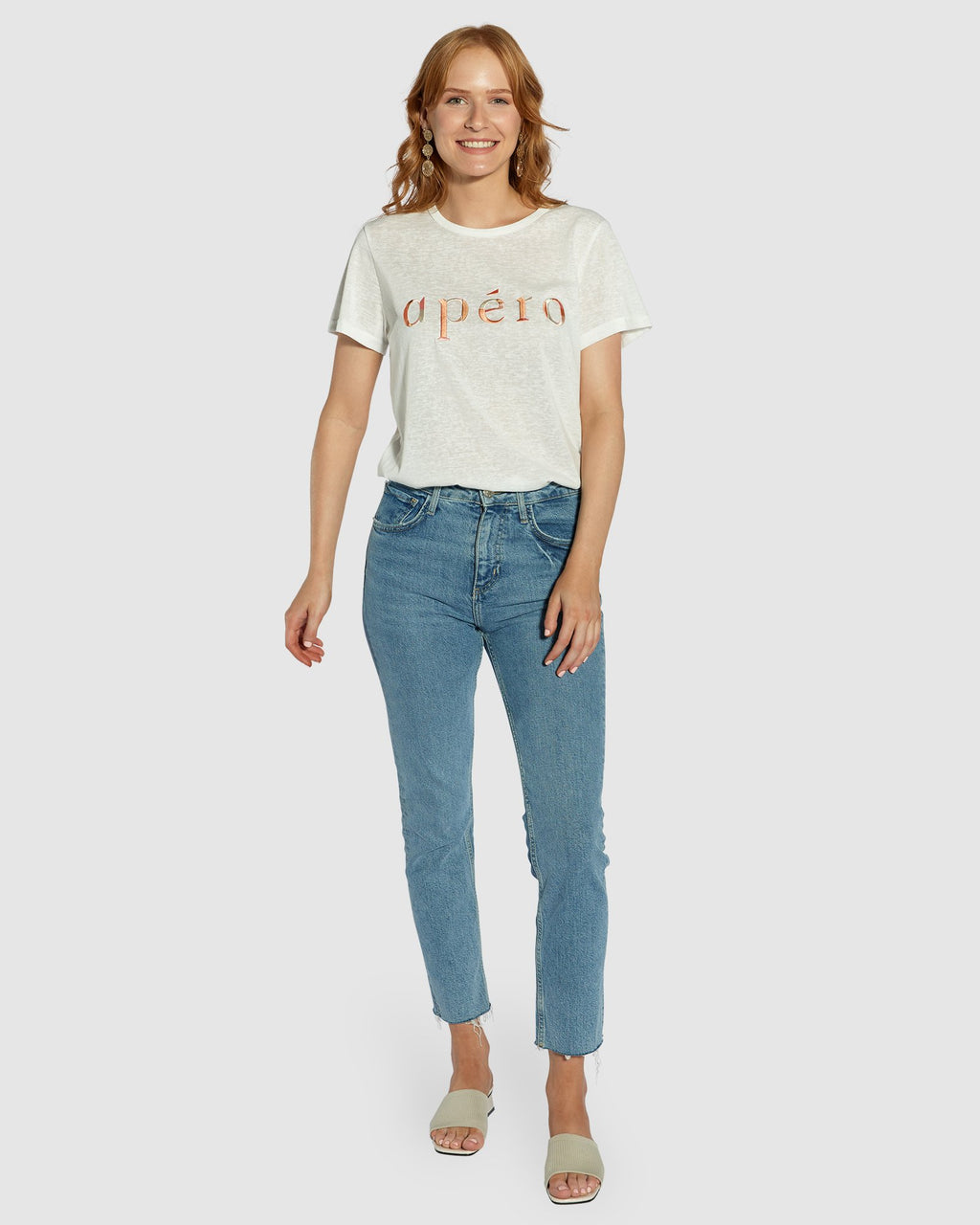 Apero Marble Emroided Femme Tee in White/Multi
