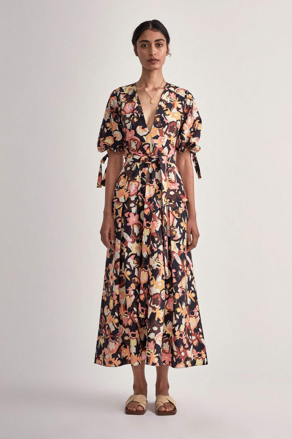 Camilla & Marc Delfino V Neck Midi Dress in Delfino Print