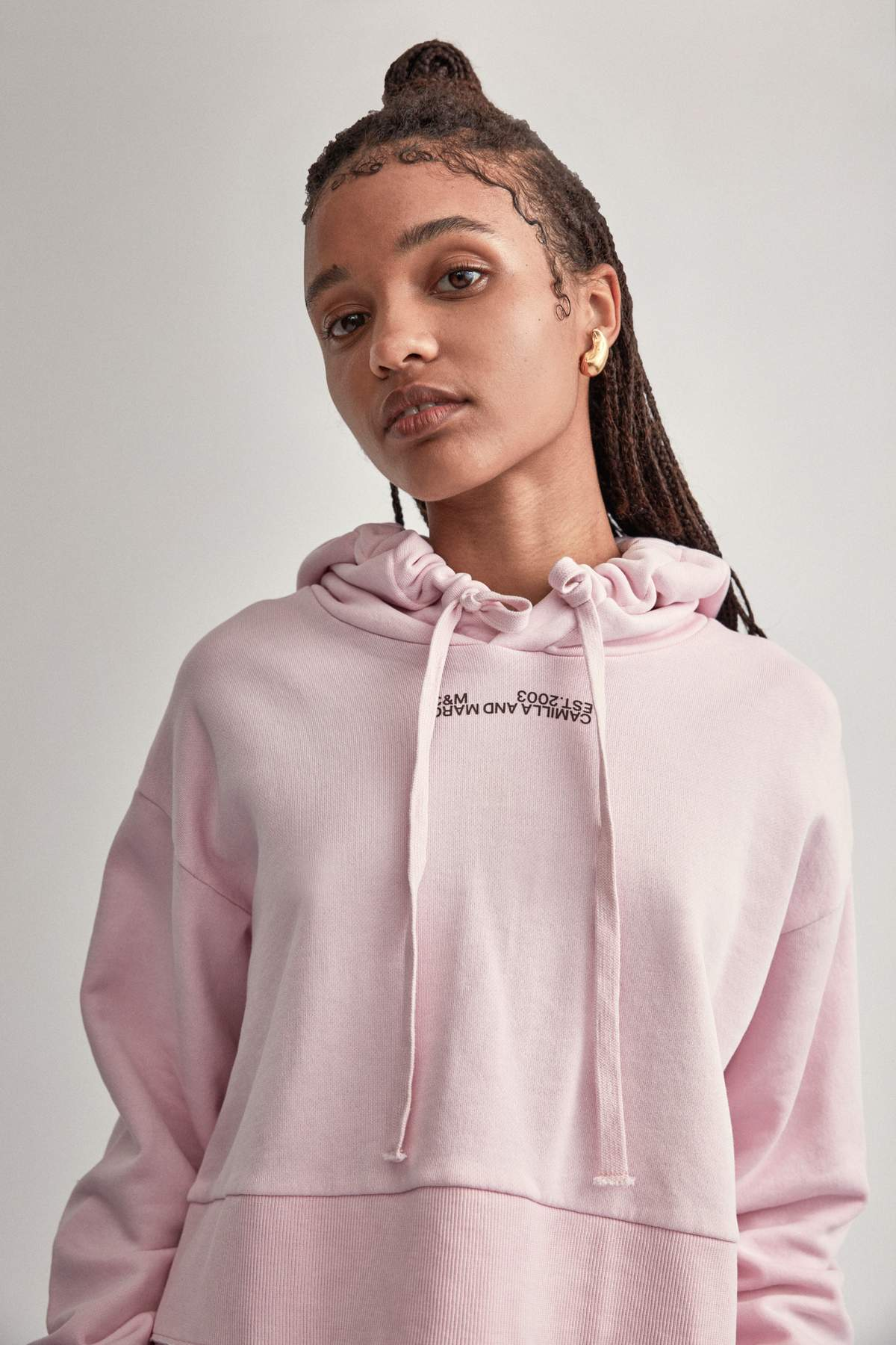 Camilla & Marc Cropped Hoodie in Ice Pink