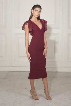 Chriselle Queen of Eden Lace Dress in Mulberry