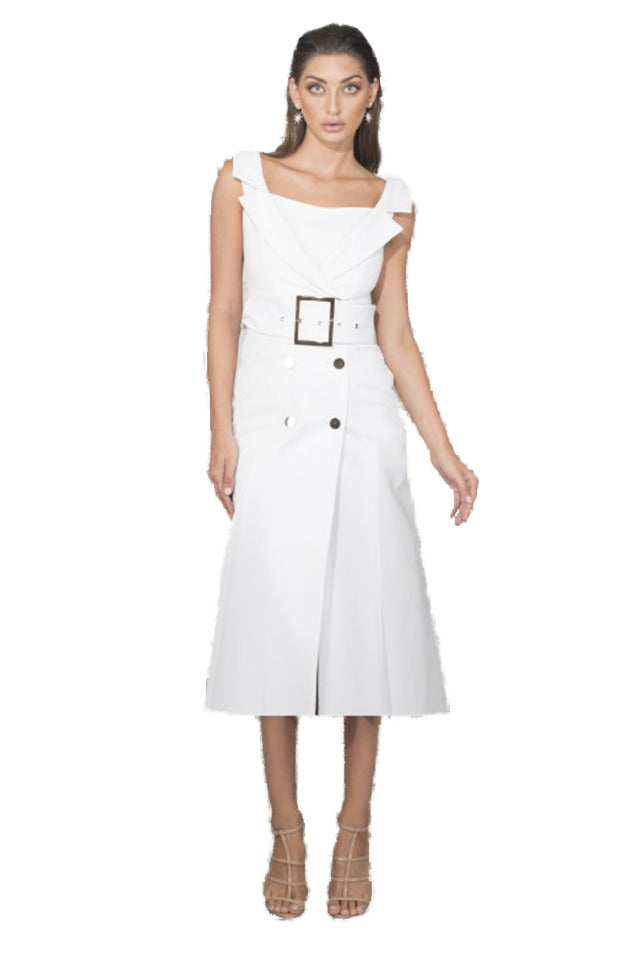 Chriselle Secret Memory Tuxedo Midi Dress in White