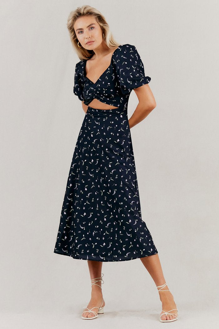Misha Clementine Dress in Black Floral