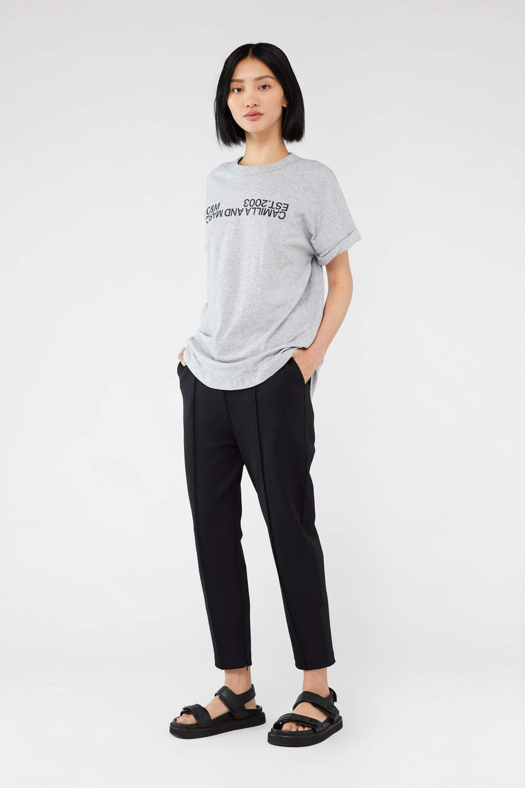 Camilla & Marc Huntington Tee 2.0 in Grey with Black
