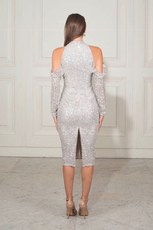 Chriselle Midnight Jewel Midi Dress in Glacier Silver