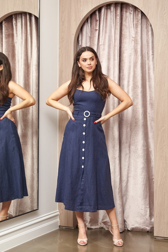 Paddo to Palmy Cotton House Halter Dress in Navy Linen