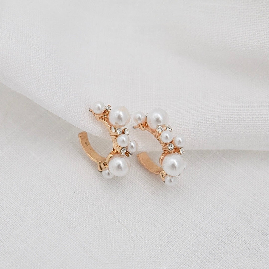 Sable & Dixie Charlotte Gold Plated Pearl Hoops