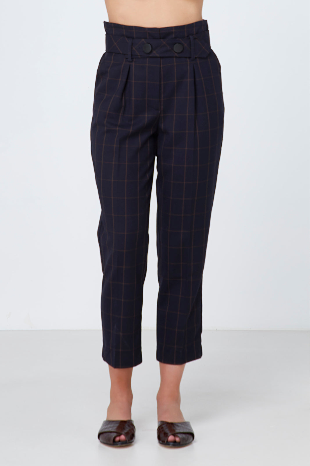 Elka Mae Pant in Tan Check