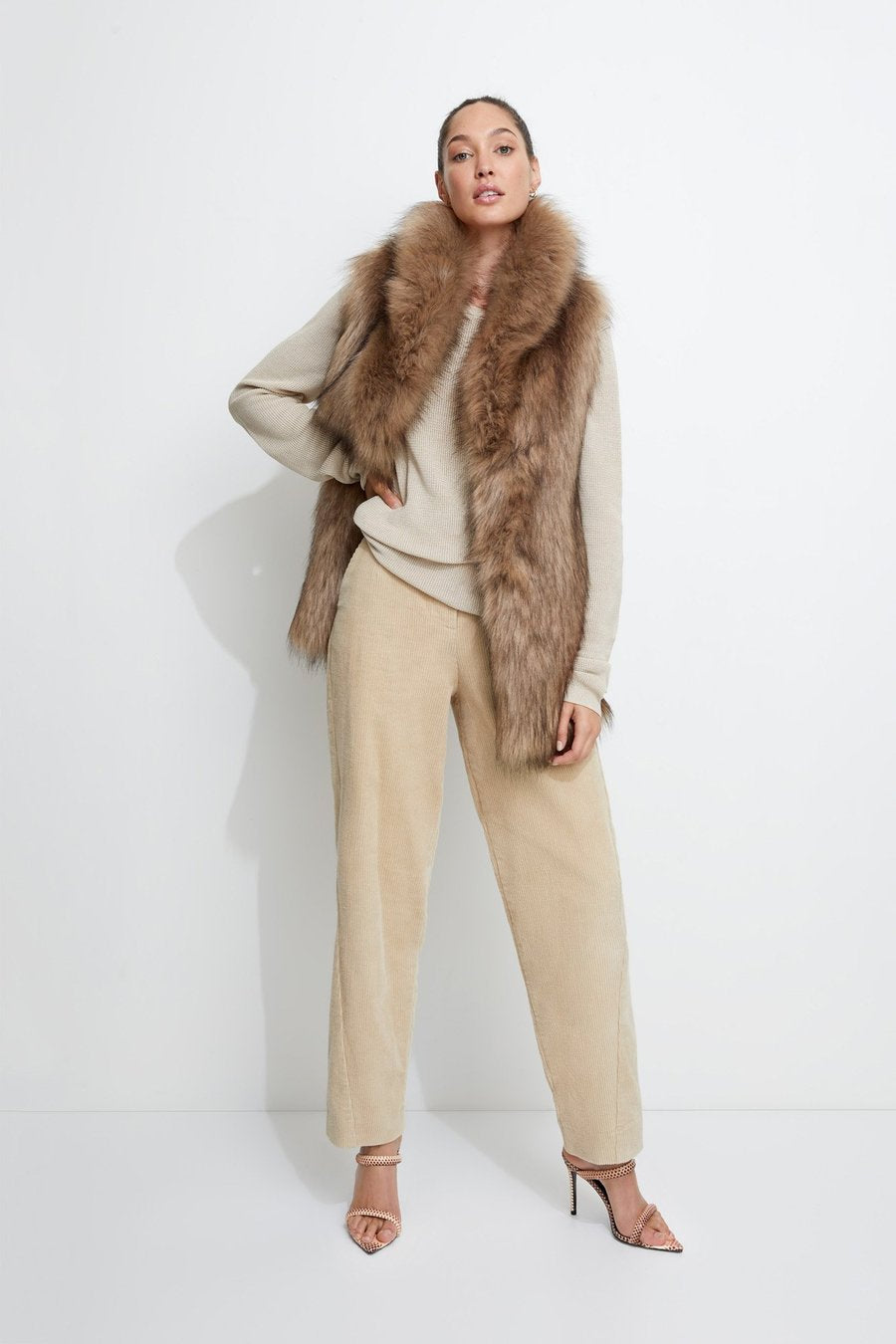 Unreal Fur Fascination Vest in Mocha
