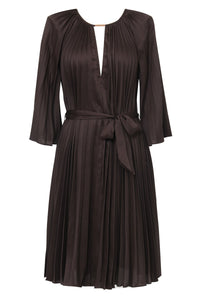 Ginger & Smart Depth Pleat Dress in Cocoa