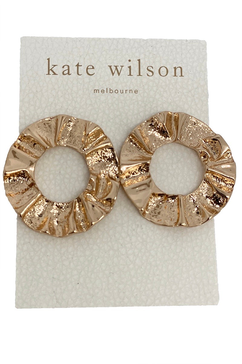 Kate Wilson Circle Earring in Textured Gold