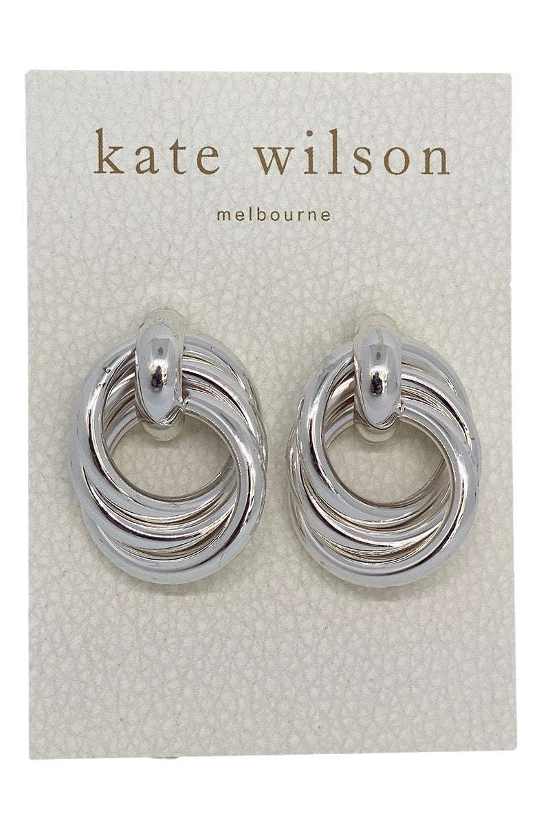 Kate Wilson Circle Knot Earring in Silver