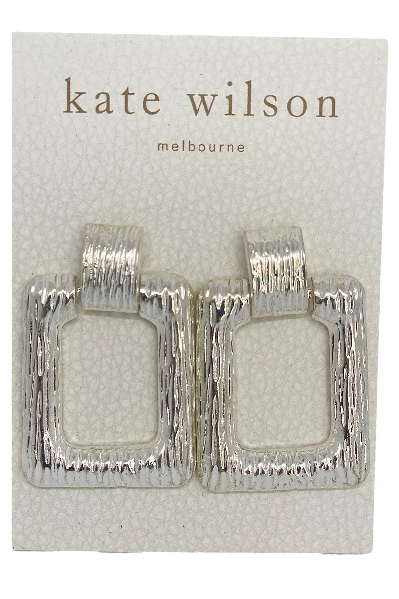 Kate Wilson Rectangle Textured Drop Earring in Silver