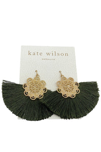 Kate Wilson Green Fringe Earring in Gold