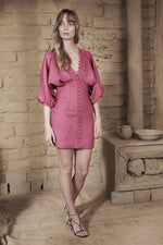Joslin Isabella Linen Ramie Dress in Pink