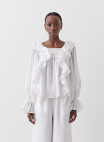 Joslin Gretal Linen Ramie Smock Top in Optical White