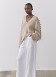 Joslin Paige Cashmere Cotton Knit In Flax Marle